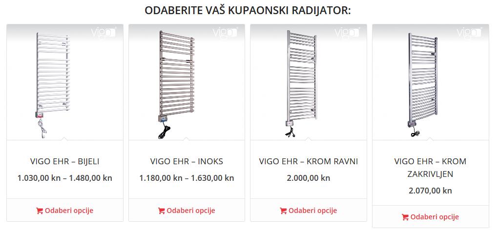 kupaonski radijatori Vigo